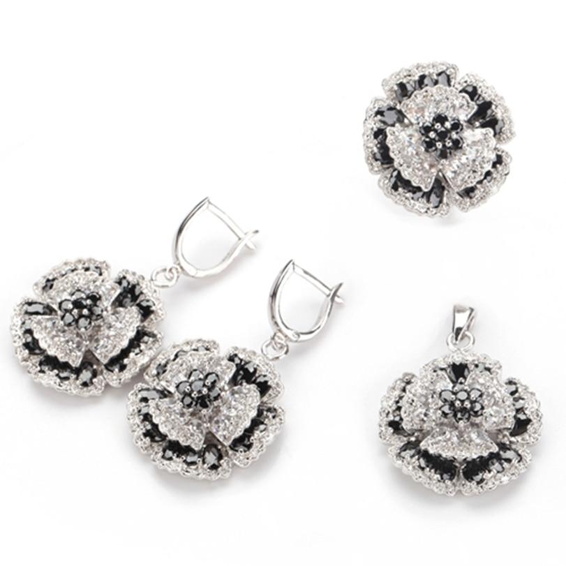 Fleure Esme bijoux ensembles pour filles (anneau/boucle d'oreille/pendentif) arc-en-Cubique Zircone Rhodium plaqué R701set taille 6 7 8 9 10 11 12 13