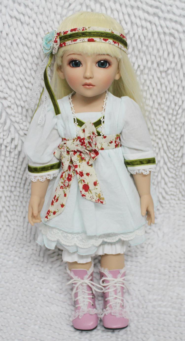ФОТО 18inch 45cm  reborn baby doll ball jointed doll bjd  hard vnyl toy girls gift  for kids children adora white dress golden hair