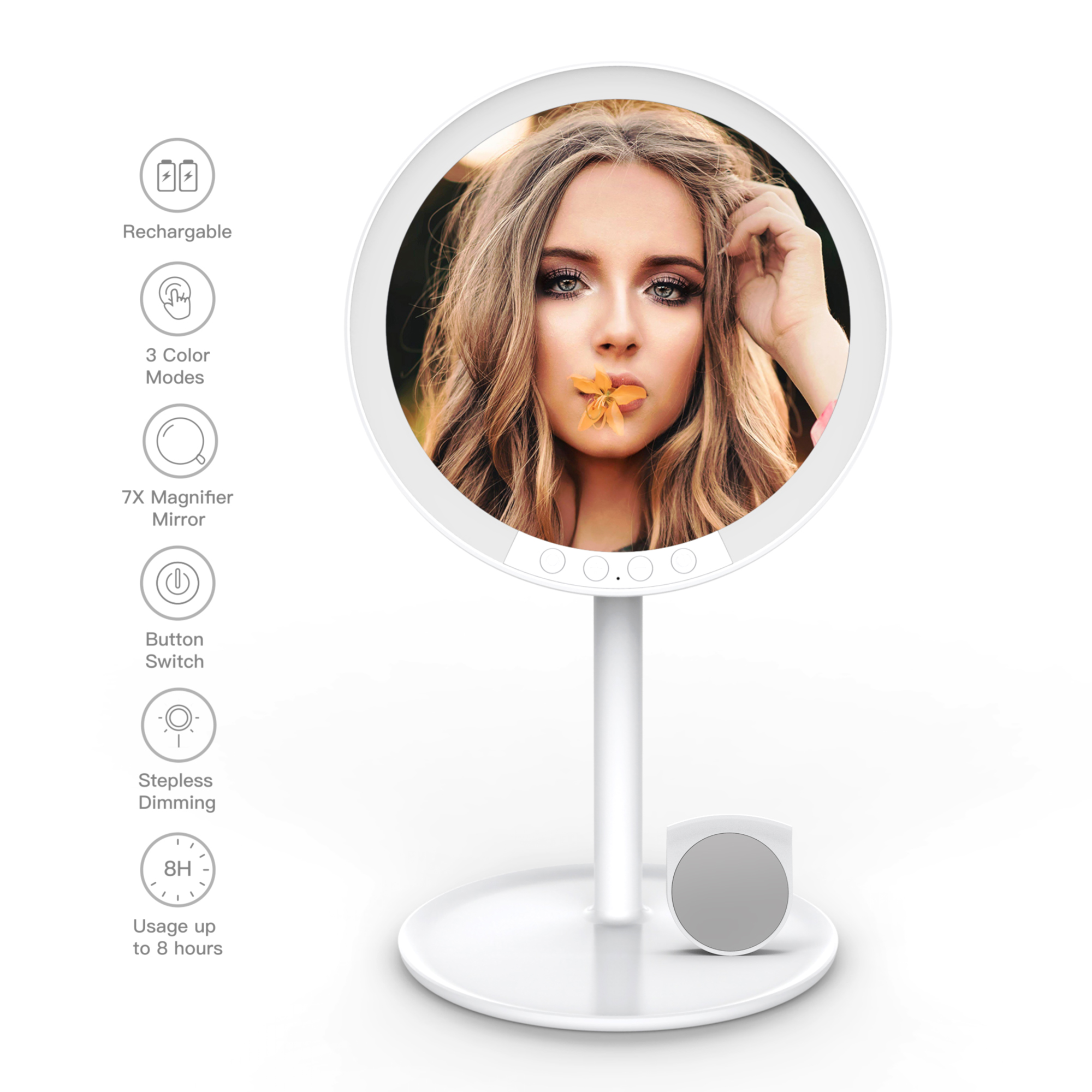 Makeup Vanity Mirror With 66 LED Lights 2000mah Rechargeable, 180 Degree Rotation,1x-10x Magnifying With Stand And Travel Mirror