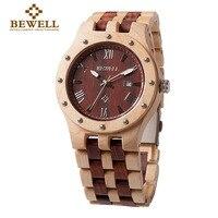 BEWELL Fashion Wristwatch Men Wooden Sandalwood Watch For Man Quartz Movement Relogio Masculino Watches