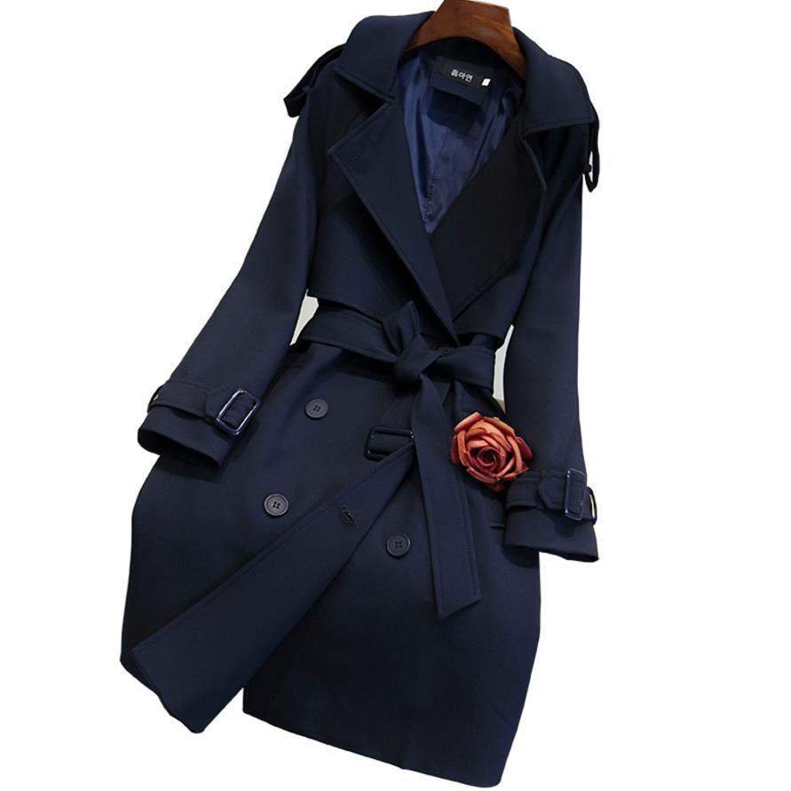 Manteau 2xl Blue Plus Bleu Double longue Coupe Taille Nouvelle Tranchée Milieu vent Mode Femmes La Ceinture Automne 2018 Dark Mince Foncé Breasted S81wq4q