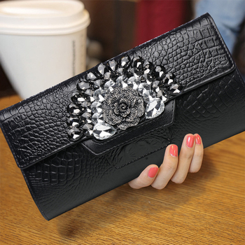 Fashion Women Diamonds Banquet Clutch Wallet Genuine Leather Cowhide Cover Multifunction Modern Crossbody Shoulder Bags Gifts
