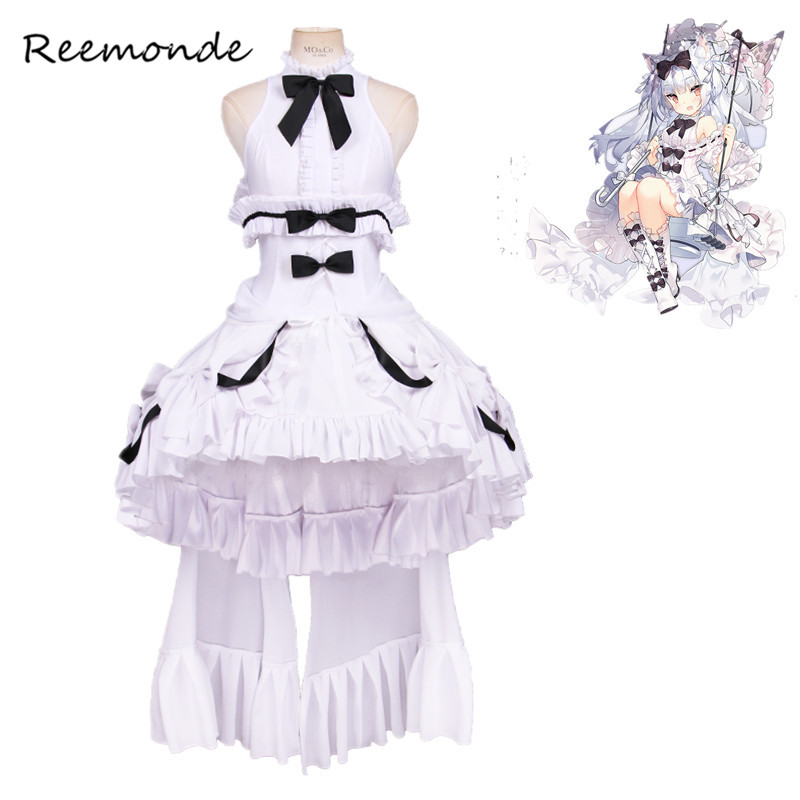 Anime Games Azur Lane Cosplay Costumes In Women Girls White Lolita Dresses Yukikaze Game Cosplay Halloween Carnival Uniforms