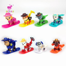 UEKKO 8pcs/set Cowboy hat skateboard Patrol Dog Toys Puppy Patrulla Canina Action Figure Model Funko Pop Collection Kid Toy Gift