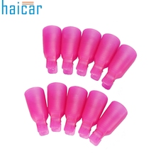 Haicar Fashion Women Lady 10PC Plastic Nail Art Soak Off Cap Clip UV Gel Polish Remover Cap Wrap Tool Gift 1Set