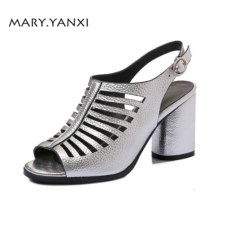 Summer Women Shoes Sandals Genuine Leather Gladiator Fashion Casual Square High Heel Big Size Shoes Back Strap Rome Hollow Solid women high heel shoes women slingbacks sandals genuine leather solid color black white summer fashion casual shoes round toe
