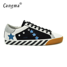 CANGMA Italian Men Shoes Footwear Genuine Leather Male Superstar Designer Casual Black White Lace Up Shoes Zapatillas Deportivas