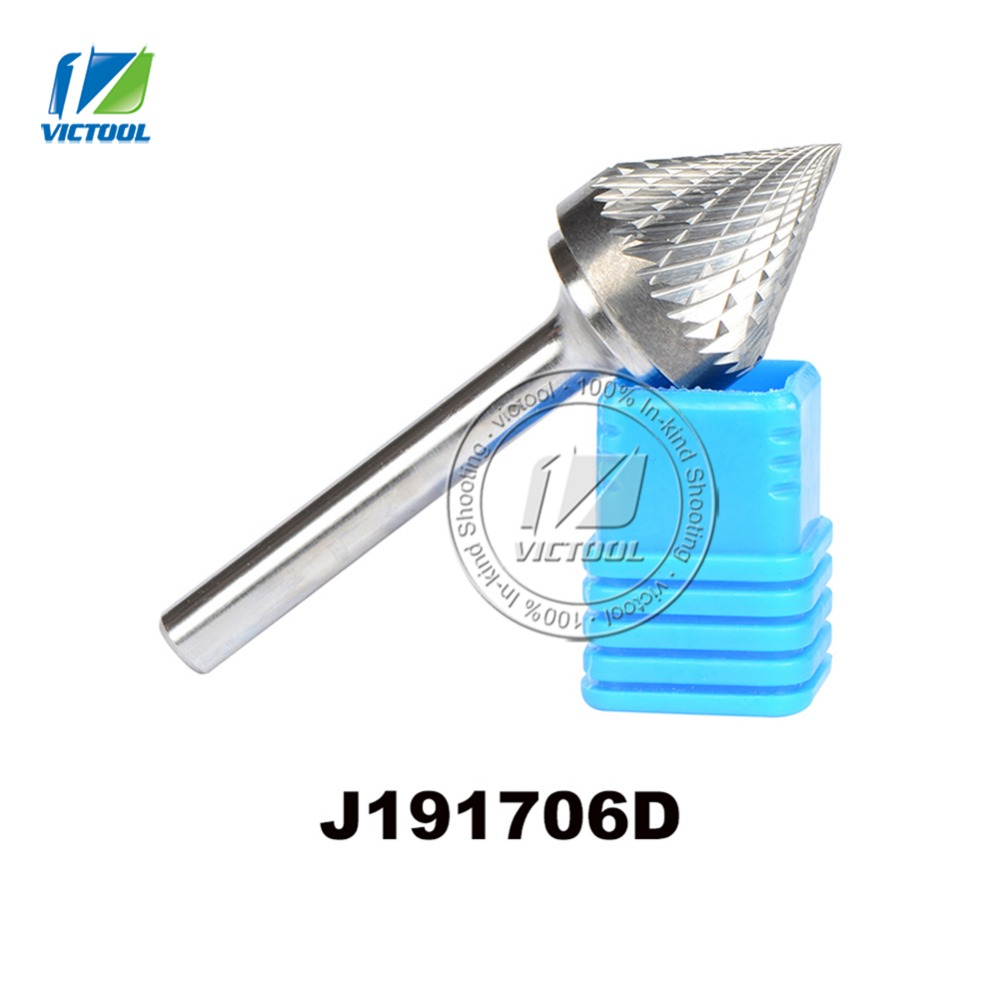 tungsten carbide J cone 60 degree 19*17mm rotary burr file cutter grinding and abrasive tools J191706D 6mm shank milling tools