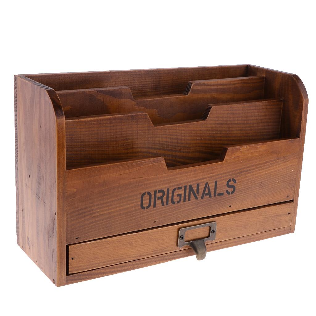 Tabletop, Vintage Rustic Wooden Office Desk Organizer /& Mail Rack for Desktop