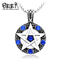 Cool Unique Fashion Pendants 2016 Cool Necklaces for Men Women Stainless Steel Trendy Hexagram Blue/Red Crystal Pendant BP8-003