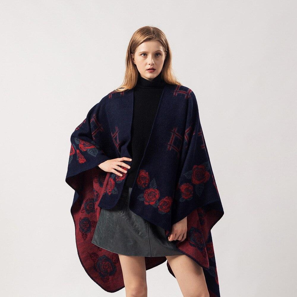 capas y ponchos de invierno mujer Wild warm brand scarf Fashion jingge rose shawl cloak abrigos mujer invierno 2019 ponchos