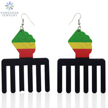 SOMESOOR Large Size Power Fist Comb Wood Drop Earrings With United Colors Of Africa Black Ethnic Jewelry For Women Gifts 1Pair