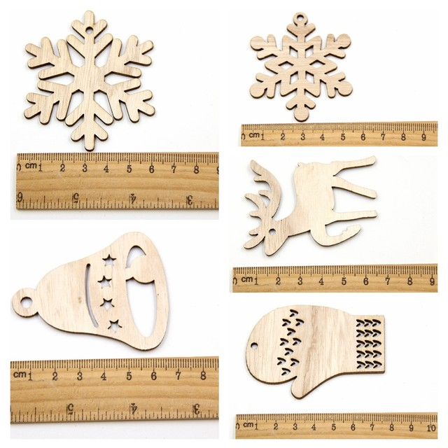 10PCS DIY Christmas Snowflakes&Deer&Tree Wooden Pendant Ornaments For Christmas Party Xmas Tree Ornaments Kids Gifts Decorations 16