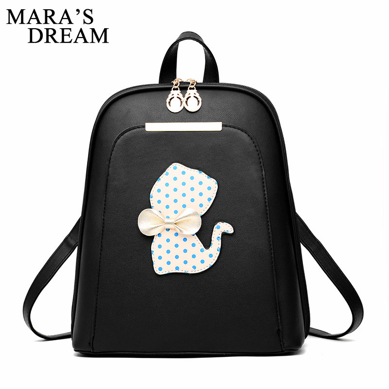 Mara's Dream Fashion Cute Cat Backpack Women 2017 High Quality Back Pack Bag School Bags For Teenage Girls PU Leather Bag Pack women backpack black red fashion style school daypacks funny quality pu leather small shoulder bag teenage girl travel back pack