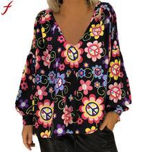Women Autumn Blouse 2018 5XL Plus Size Long Sleeve Floral Print Tunic Tops Puff Sleeve Shirts