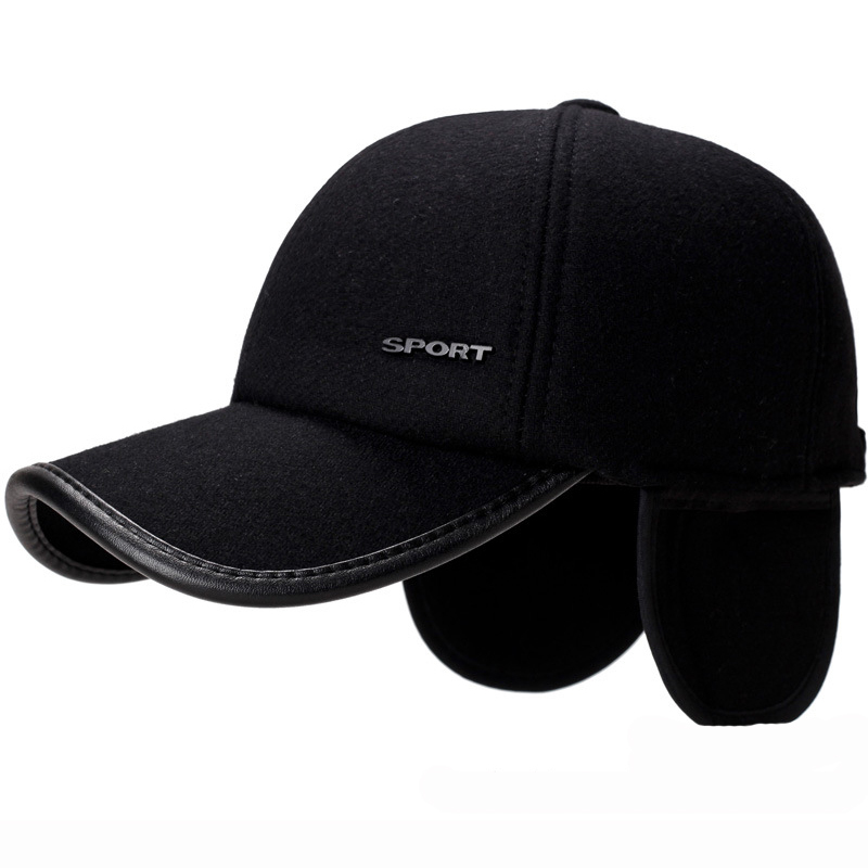 HK Men Earflaps Baseball Cap Warm Snapback Outdoor Father/'s Winter Visor Hat Ex