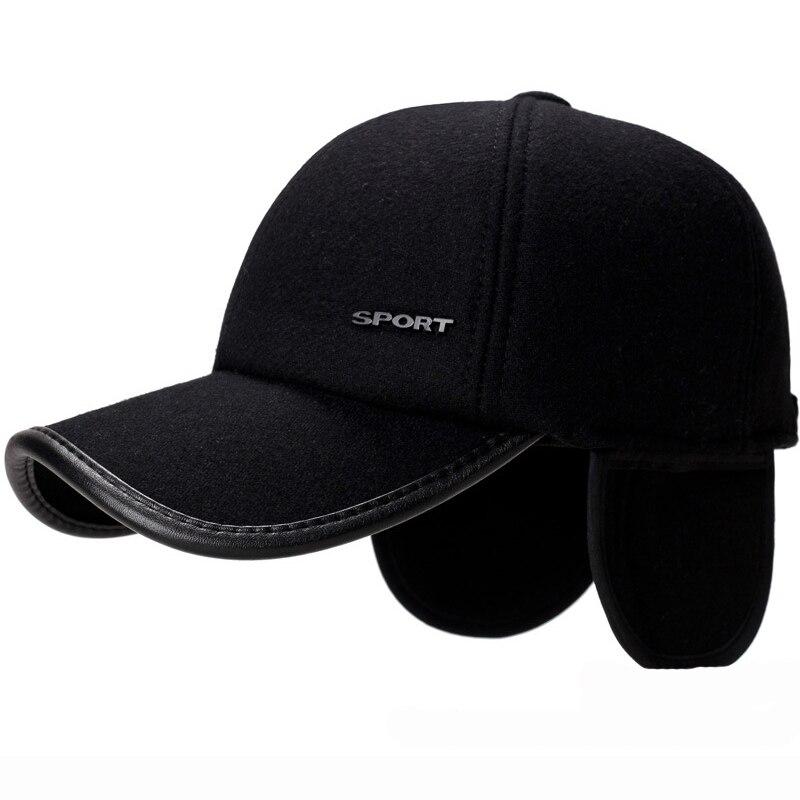 HT1856 Autumn Winter Hats for Men Black Grey Wool Felt Men   Caps   Warm Earflap   Baseball   Dad Hats Adjustable Snapback   Baseball     Caps