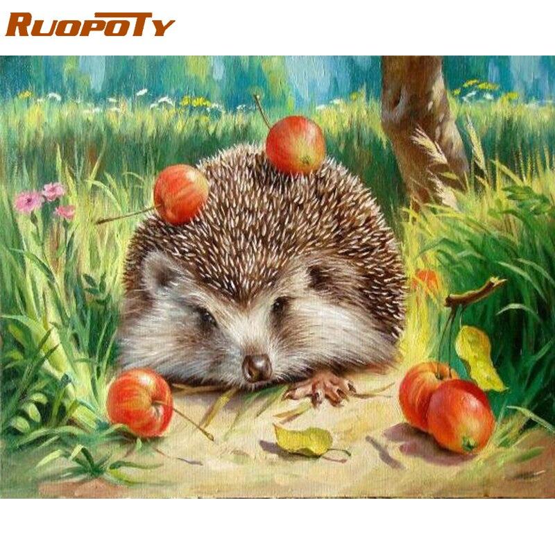 RUOPOTY Telaio Hedgehog DIY Pittura By Numbers Wall Art Foto Su Tela Dipinto Home Decor Acrilico Vernice Unico Per Soggiorno