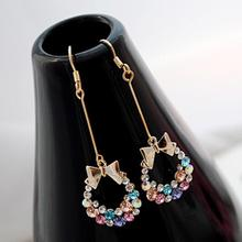 Charming Jewelry Crystal Rhinestones Inlaid Bowknot Shaped Dangle Earring Color Gold color EAR-0148