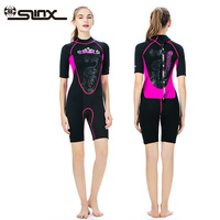 SLINX One piece Short Sleeve Wetsuit Women 3mm Neoprene Printed Diving Suit Surfing Snorkeling Spearfishing Sailing Swimwear