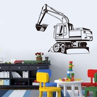 Removable Big Digger Farm Mechanical Outline Wall Sticker Transfer Decal Window Door Kids Room Stencil Factory
