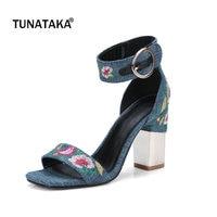 Denim Square High Heel OPen Toe Woman Sandals Ethnic Embroider Dress High Heel Shoes Woman Summer