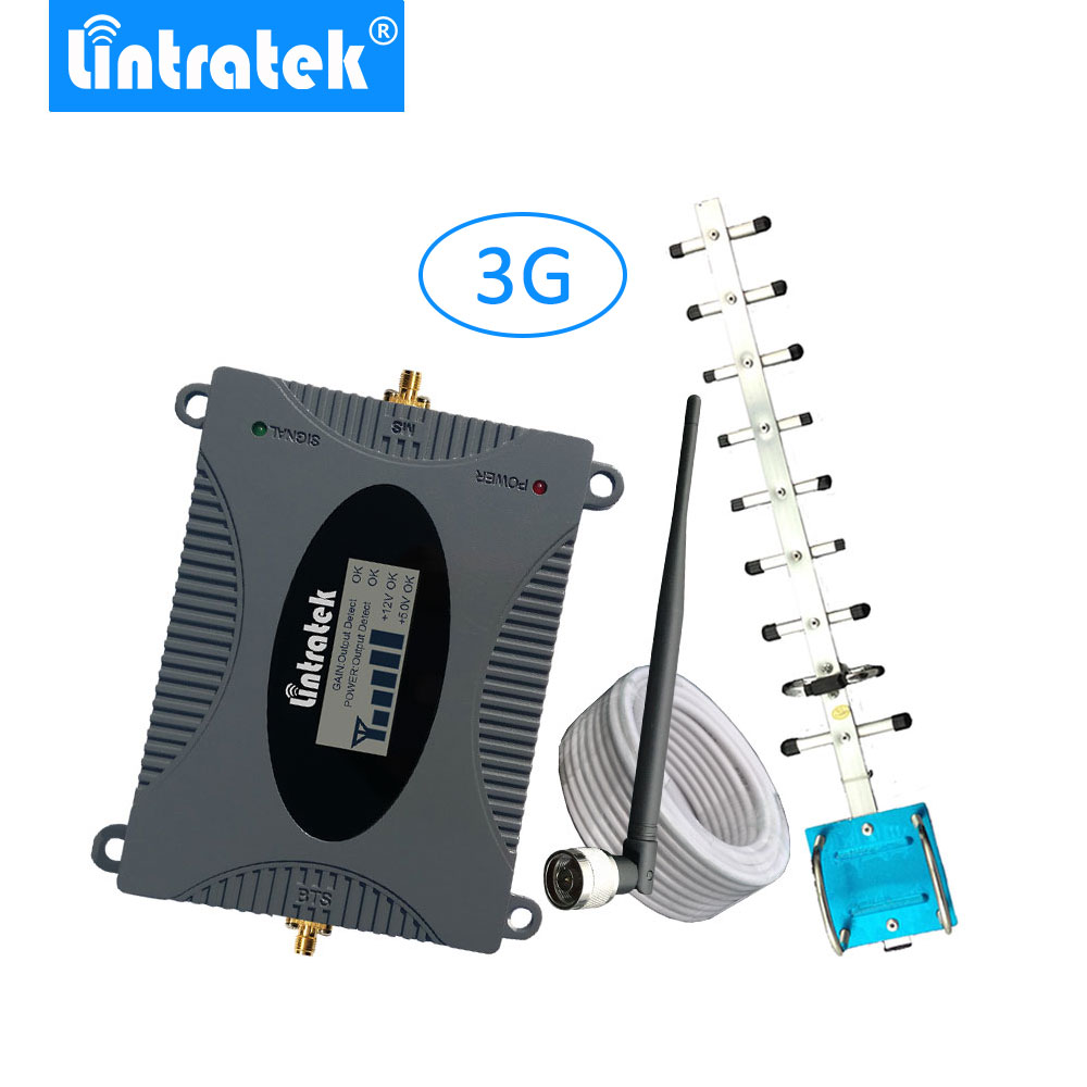 Lintratek 3G Mobile Cell Phones Signal Repeater Booster Amplifier UMTS 2100MHz (Band 1) Yagi Antenna Set For 3G Voice And Data -