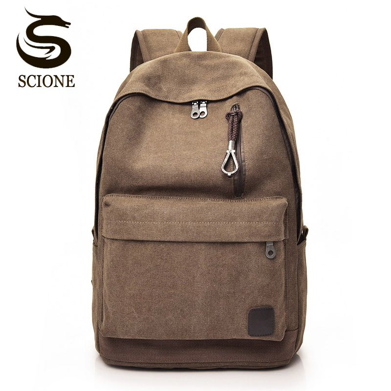 Scione Canvas Vintage Backpack Men School Laptop Backpack Women Travel Shoulder Bag Back Pack For Teenager Couple Retro Rucksack xincada men backpack vintage canvas backpack rucksack laptop travel backpacks school back pack shoulder bag bookbag