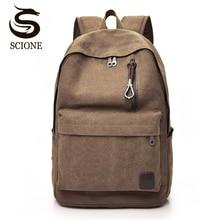 Scione Canvas Vintage Backpack Men School Laptop Backpack Women Travel Shoulder Bag Back Pack For Teenager Couple Retro Rucksack