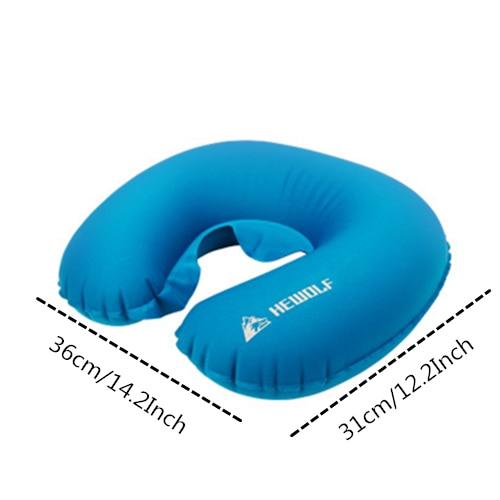 VILEAD портативный u-образный подушка для кемпинга 36*31 см уличный для пешего туризма надувная подушка самолет пляжный сон Сверхлегкий мягкий коврик - Цвет: blue pillow
