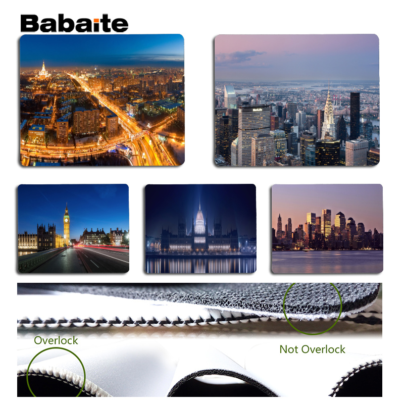 Babaite High Quality Light city DIY Design Pattern Game mousepad Size for 180x220x2mm and 250x290x2mm Small Mousepad