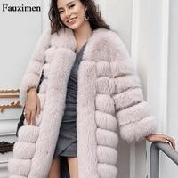 New Medium Long Real Fox Fur Jacket Women Winter Fox Fur Jacket Woman Warm Coat Female Ladies Fur