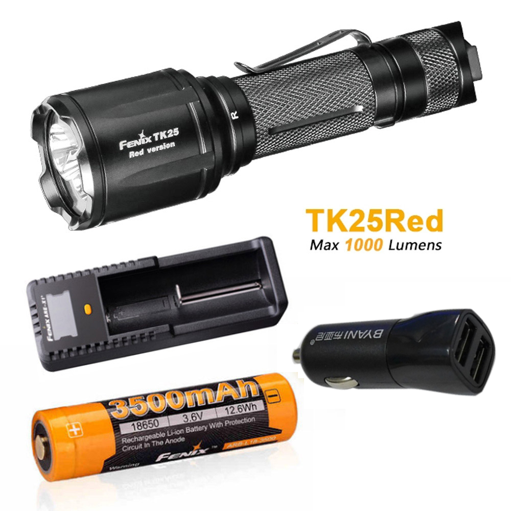 New Arrival Fenix TK25 Red Version Cree XP-G2 S3 & XP-E2 Red LED's Dual Lighting Hunting Flashlight for Most Tactical Demands