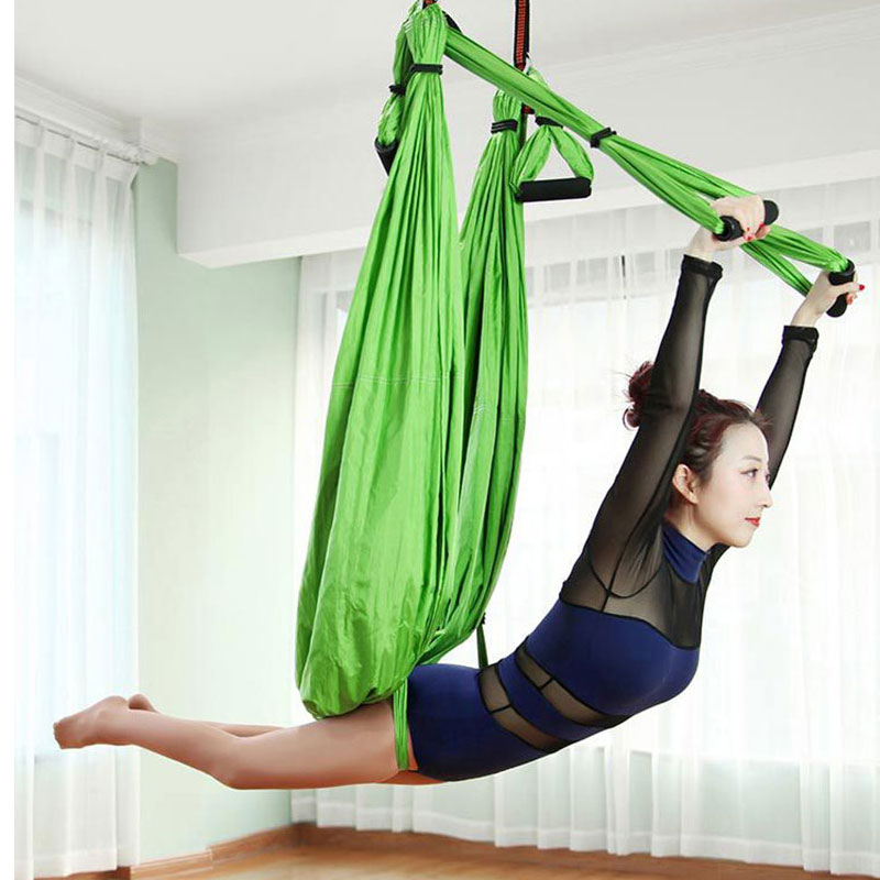 Yoga Fdbro Yoga Hanging Belt Swing Trapeze Anti-gravity Aerial Traction Device Aerial Hammock 6 Handles Strap Pilates Home Gym 2.5m Fitness & Body Building