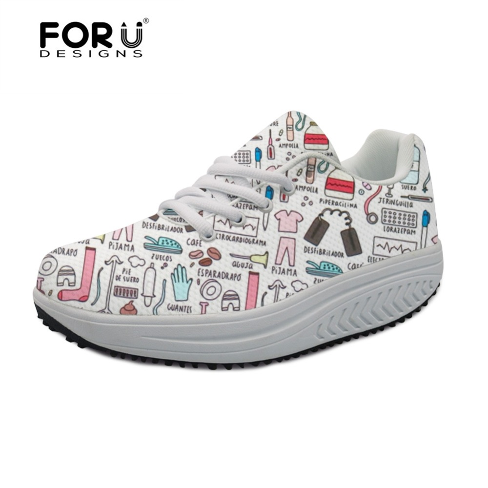 FORUDESIGNS 2018 HOT Nursing Bear Pattern Women's Swing Shoes Flats Platform Casual Women Height Increasing Shoes Woman Fitness