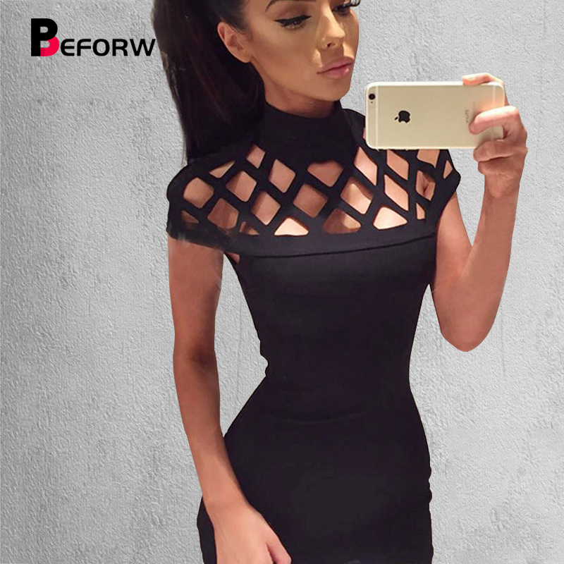BEFORW Sexy Women Dress Summer Casual Womens Bodycon Dresses Big Size Women Clothing Mini Club White Black Bandage Pensil Dress