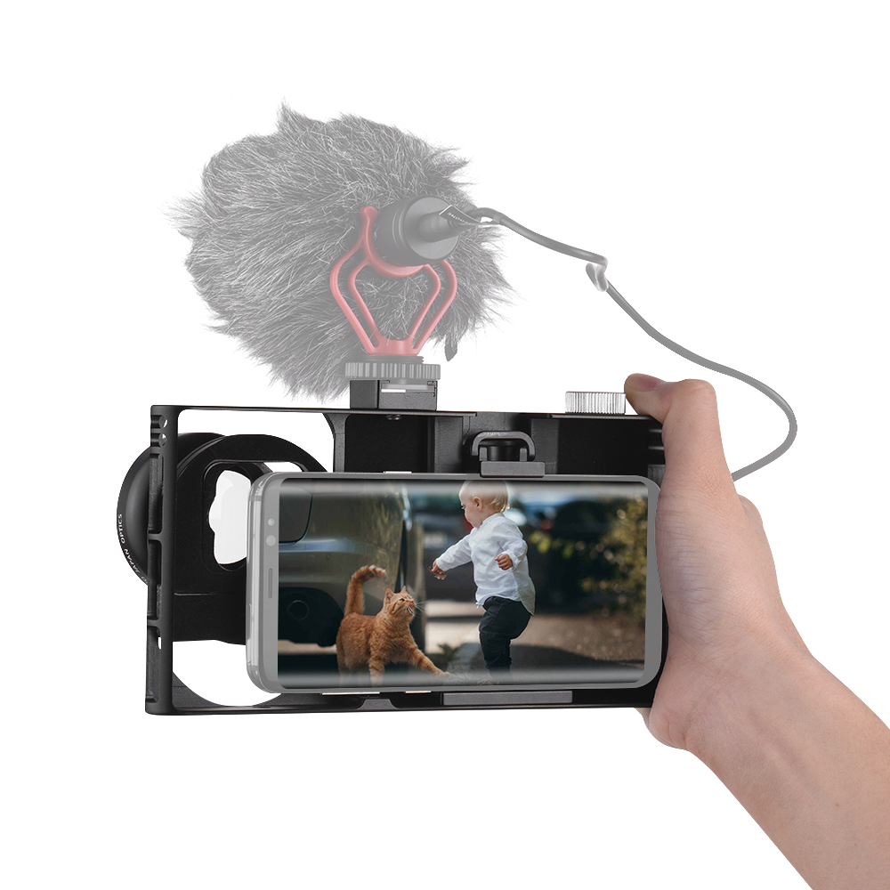 Aluminum Alloy Smartphone Video Camera Cage Rig Photo Filming Cage Stabilizer Grip With Hot Shoe For IPhone X 8 7 6s Plus Huawei