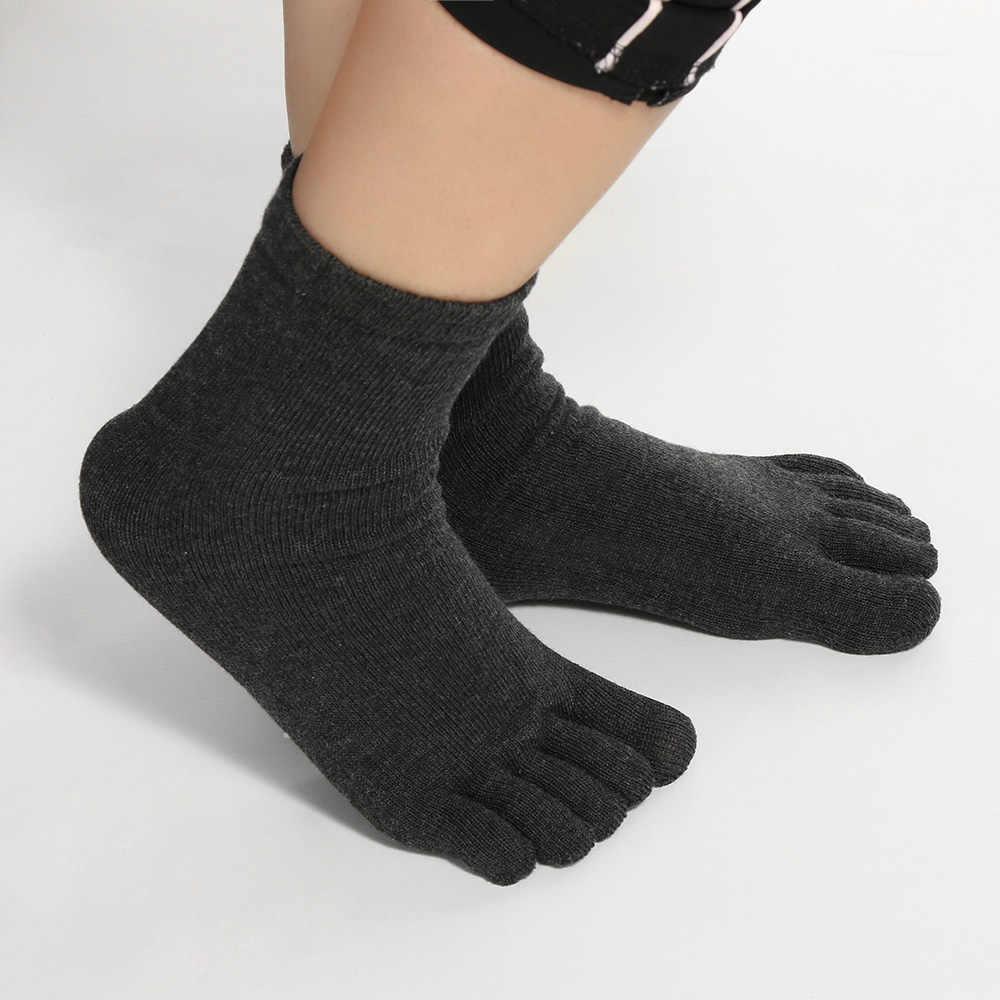 Лидер продаж, 1 пара, модные Повседневное Для мужчин и Для женщин хлопковые однотонные мягкие Повседневные носки удобные туфли в стиле «Унисекс Пять 5 пальцев ног носков стандартной длины