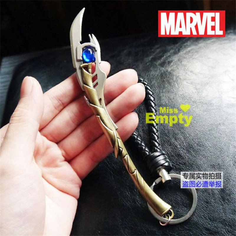 Marvel Movie The Avengers Loki Wand Of Mind Key Chain Cosplay Accessories Badge MNSF Metal Key Chain Fancy Esihou Gift