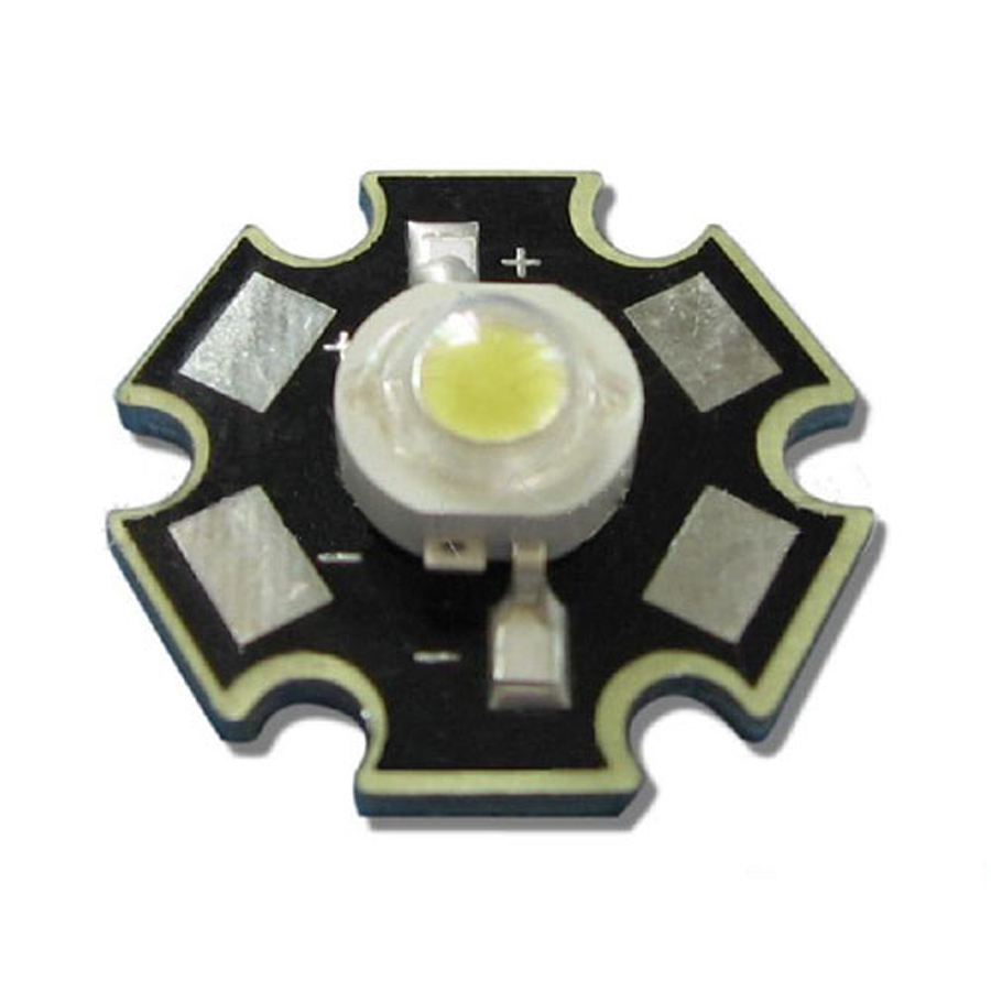 500pcs 1W 3.6V 300mA Pure White 6000K ~ 6500K LED Light Bulb Emitter With 20mm Star Heatsink