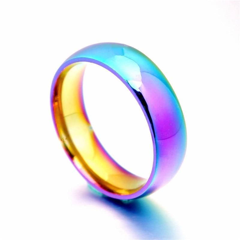 Klasszikus férfi női szivárvány színes gyűrű titán acél esküvői zenekar gyűrű szélesség 2 4 6 8mm méret 6-12 ajándék WTR93