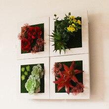 3D креативные пластиковые растения домашний Свадебный декор Метопа суккулент имитация дерева рамка искусственный цветок Спальня наклейка на стену Декор
