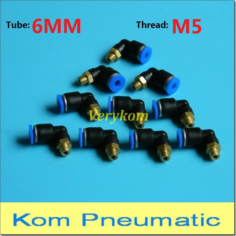 M5 BSPT Male Thread 90 Degree Elbow Pipe Quick Fittings Pneumatic 6mm PL6-M5