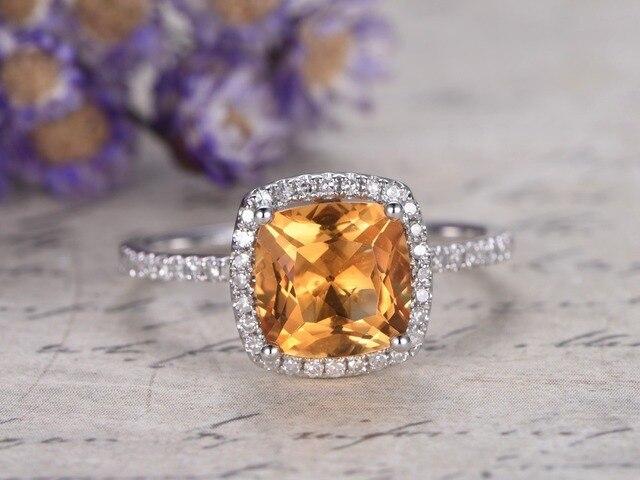 f870737331aa MyRay 14 K oro blanco 8mm Cojines corte genuino natural amarillo citrino  diamante banda anillo Vintage