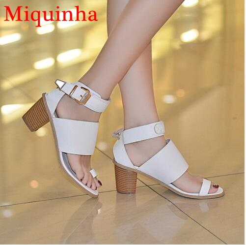 Women Gladiator Sandals Square High Heels Summer Pumps Shoes Woman High Heel Sandals Plus Size Hollow Out Peep Toe Ankle Buckle plus size 33 43 new women sandals square thin heel summer ankle strap woman shoes red ladies fashion gladiator party pumps shoes