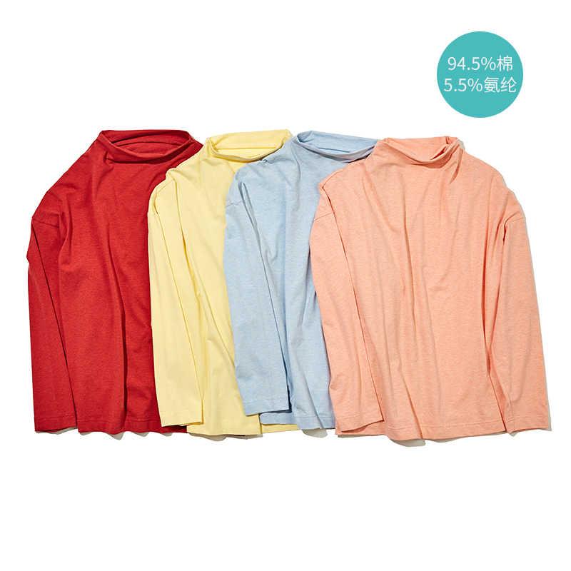INMAN Frühling Herbst Baumwolle Solide Halb Hohe Kragen Casual Alle Abgestimmt Sport Mode Lange Hülse Frauen T-shirt