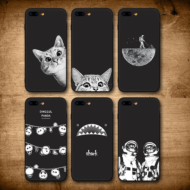 sports shoes f4a95 61503 US $2.74 43% OFF|IIOZO Case For iphone 6 7 8 plus Cute Cat Space Moon Cat  Man Pandas Shark Animal black Phone Cases Cover for iphone X XR XS MAX-in  ...