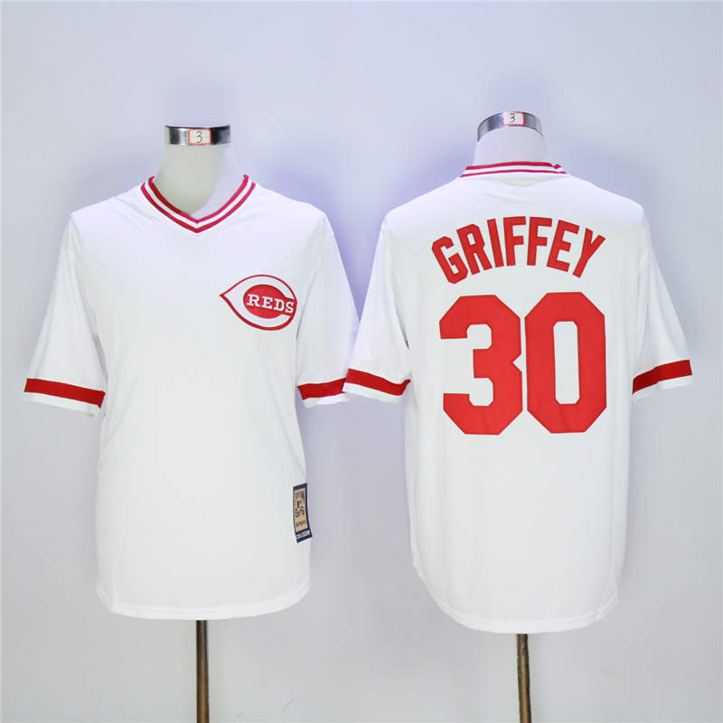MLB Mens Cincinnati Reds Ken Griffey Jr. Jersey White Throwback Red Gray Flex Cool Base Player Jersey