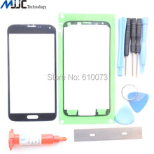 Black Replacement Screen Glass Lens Kit For Samsung Galaxy S5 SV i9600 SM-G900 Front Glass Replacement+Tool Glue Blade Adhesive