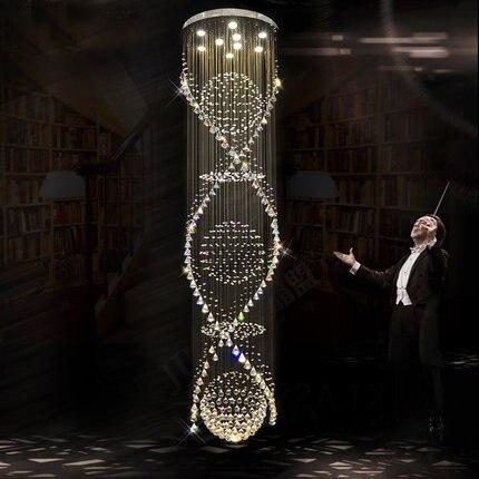 Lustre en cristal en spirale moderne allume la lampe en cristal de luxe D65cm * H250cm d'hôtel de Foyer de Foyer d'éclairage d'intérieur